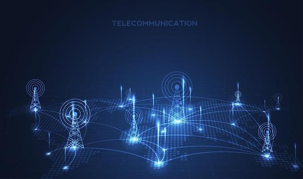 電気通信信号送信機、回線からの電波塔。イラストベクトルデザイン。