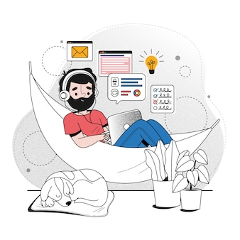 Telecommuting concept illustration