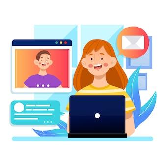 Telecommuting concept illustration