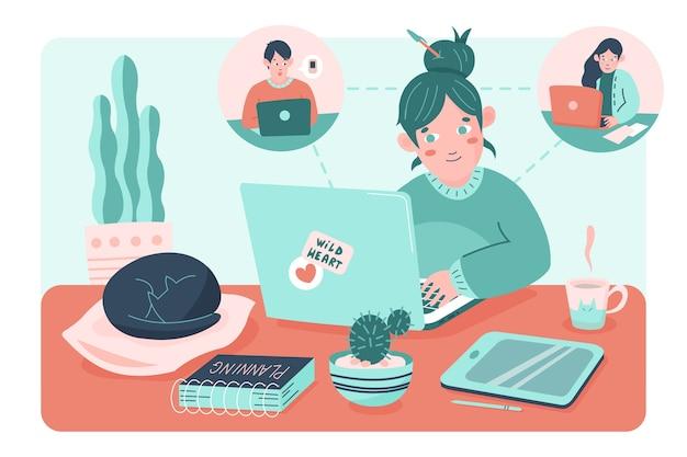 Telecommuting концепция с женщиной, принимая на ноутбуке