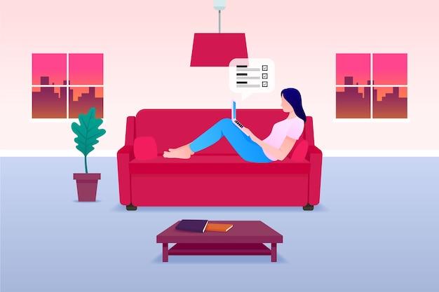 Telecommuting концепция женщина, работающая