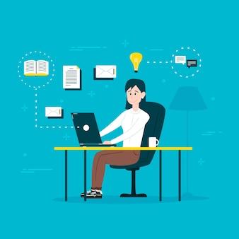在宅勤務のオンラインコンセプト