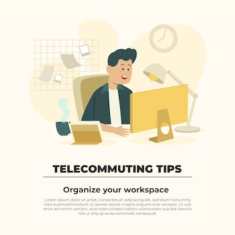 Telecommuting tips concept