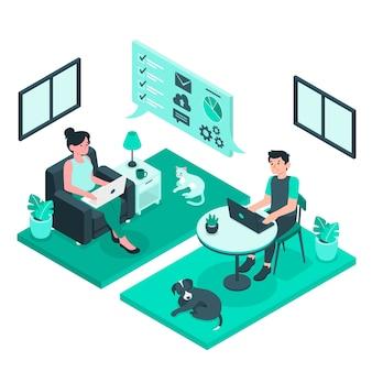 Telecommuting концепция иллюстрации