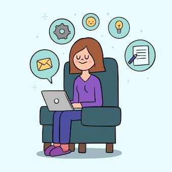 Telecommuting концепция с женщиной и ноутбуком