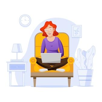 Telecommuting концепция с женщиной у себя дома