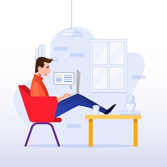 Telecommuting концепция с человеком дома