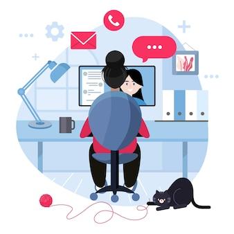 Telecommuting концепция с женщиной в видео-звонок