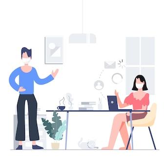 ロックされたビジネスのための電話会議。在宅でのホームステイ。 covid-19コロナウイルスの発生の概念。フラットなデザインの抽象的な人々。