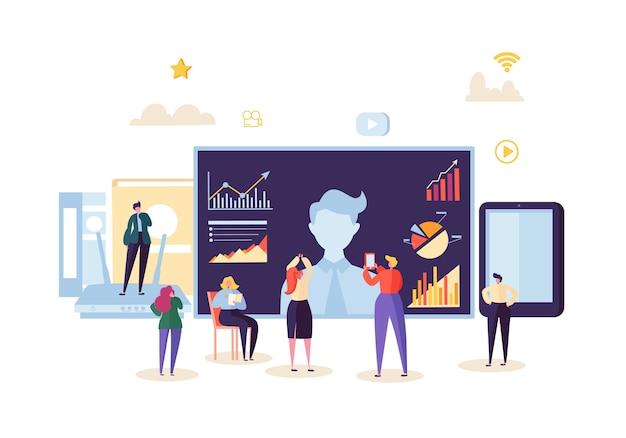 원격 회의 온라인 커뮤니케이션 개념. 화상 회의 웨비나의 비즈니스 사람들. 데이터 분석 회의에 등장하는 캐릭터.