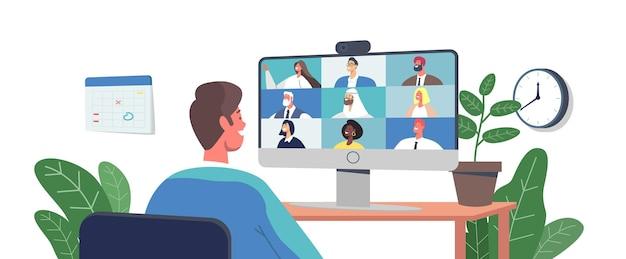 コンピュータによる同僚との電話会議、ウェブカメラグループ会議。ビジネスキャラクター、オフィスの従業員がリモートの同僚とのビデオ通話、オンライン会議で話します。漫画の人々のベクトル図
