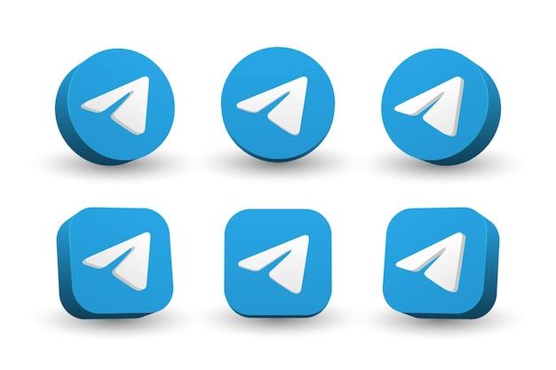 Telegram logo icon collection isolated on white Premium Vector