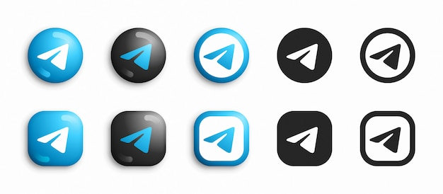 Telegram modern 3d and flat icons set vector