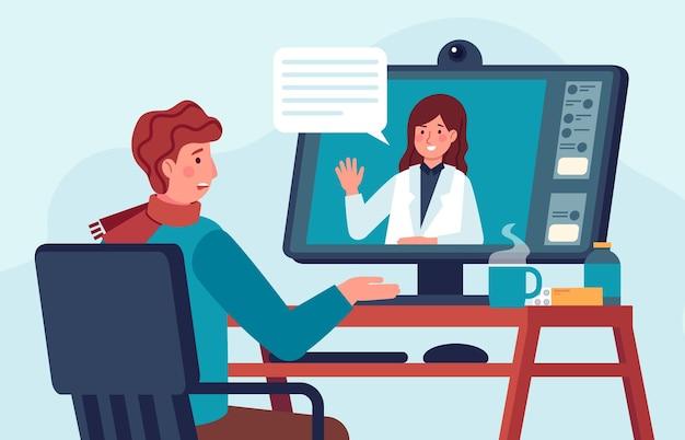 원격 의료 의사 상담. 환자는 의사와 컴퓨터로 이야기합니다. 약국 지원을 위한 온라인 화상 통화. 가상 의료 벡터 개념입니다. 아픈 사람 집에 앉아서 치료