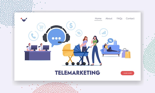 Telemarketing purchase landing page template. young women walking with baby strollers call to client support for ordering goods. characters work in customer service. cartoon people vector illustration