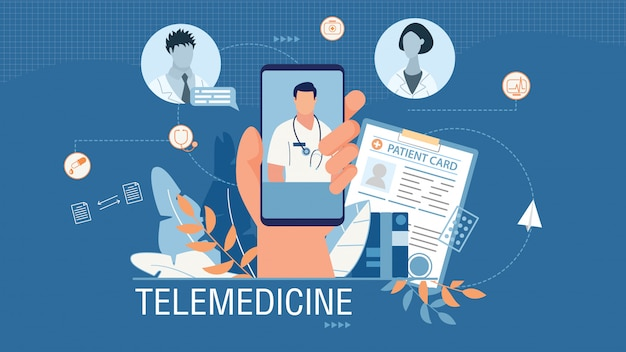 Telemedicine banner advertising medical mobile app