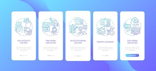 개념이있는 모바일 앱 페이지 화면을 온 보딩하는 원격 의료 혜택