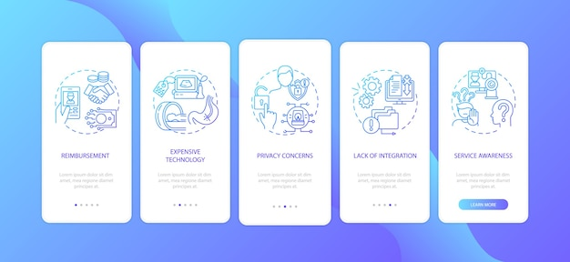 Telemedicine challenges onboarding mobile app page screen with concepts