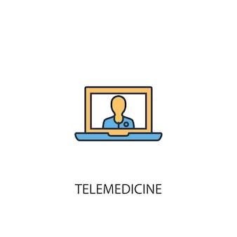 遠隔医療のコンセプト2色の線のアイコン。シンプルな黄色と青の要素のイラスト。遠隔医療の概念の概要シンボルデザイン