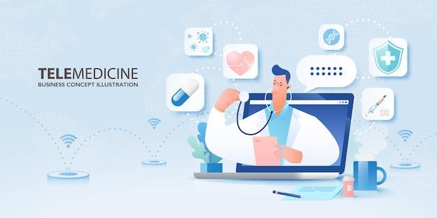 의사가 있는 원격 의료 개념 배너가 노트북 컴퓨터와 의료 아이콘에서 튀어나옵니다.