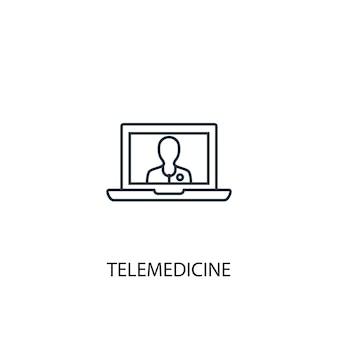 遠隔医療のコンセプトラインアイコン。シンプルな要素のイラスト。遠隔医療の概念の概要シンボルデザイン。 webおよびモバイルui / uxに使用できます