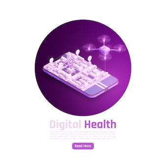 Telemedicine digital health glow isometric illustration