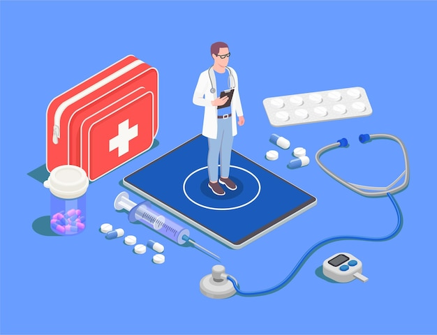 Telemedicine and digital health isometric illustration