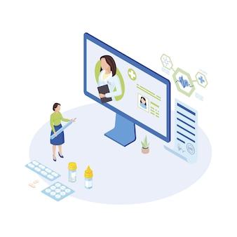 仕事の等角図の遠隔医療の専門家。漫画の医師、薬を処方する一般開業医、オンラインでの投薬。画面上のユーザー、クライアントアカウント。体温計を持っている病気の患者