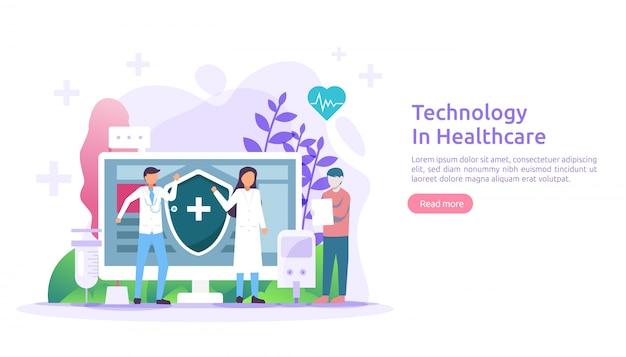 遠隔医療ヘルスケアサービスのコンセプトです。アプリを使用した医師とのオンライン相談治療。革新的な医療診断技術。 webページとモバイルサイトのフラットの図