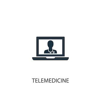 Значок телемедицины. простая иллюстрация элемента. дизайн символа концепции телемедицины. может использоваться в интернете и на мобильных устройствах.
