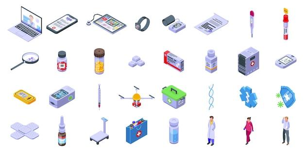 Набор иконок телемедицины. изометрические набор иконок телемедицины для интернета