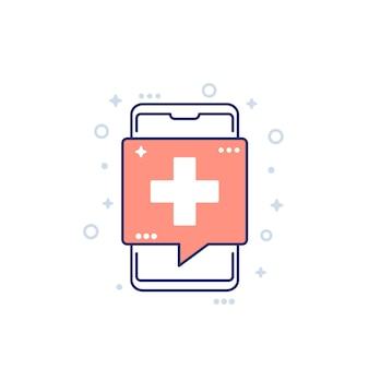 원격 진료, 스마트 폰이 있는 의료 앱 아이콘