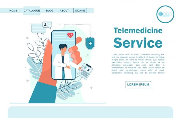 Телемедицина, интернет-врач, медицинское обслуживание онлайн для пациентов. целевая страница