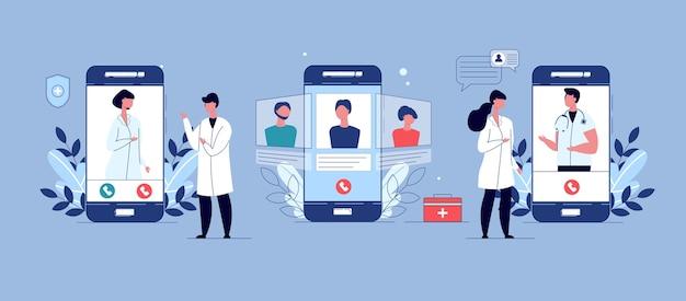 遠隔医療、オンライン医師、患者のためのオンライン医療サービス。遠隔医療の概念