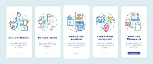 개념이있는 모바일 앱 페이지 화면 온 보딩 원격 의료 서비스 유형