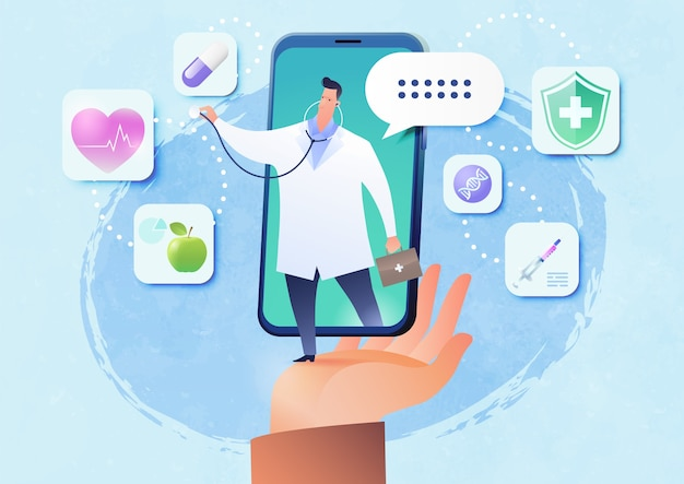 Telemedicine vector illustration with patient's hand holding smartphone video call