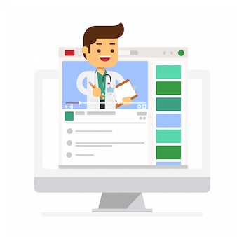 Telemedicine with medic on computer