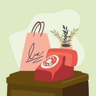 電話と買い物袋