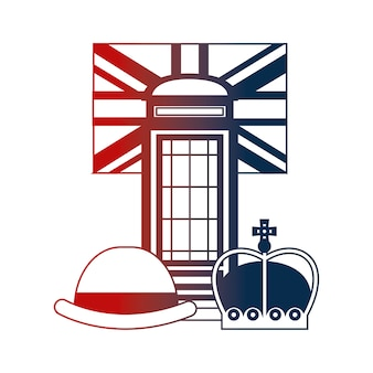 Telephone booth bowler hat crown and english flag