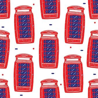 평면 디자인 스타일에 전화 상자 원활한 패턴