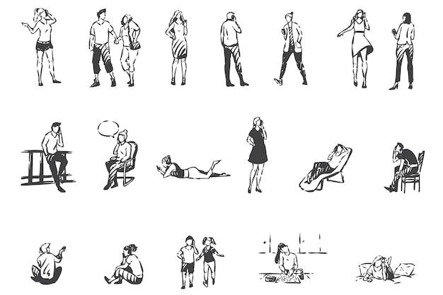 Телефонная связь, люди с эскизом концепции смартфонов. мобильные разговоры, мужчины, женщины и дети разговаривают по мобильным телефонам дома и на улице. рука нарисованные изолированные вектор