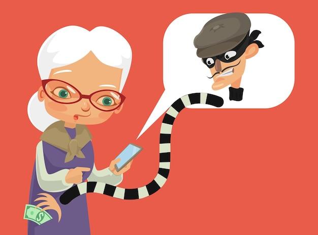 Телефонное мошенничество плоский мультфильм иллюстрации