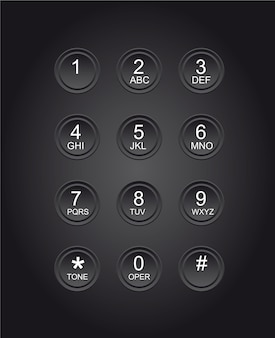 Telephone numbers black background
