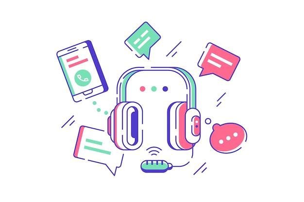 電話テクニカルサポートの図コールセンターまたはカスタマーサービスの概念