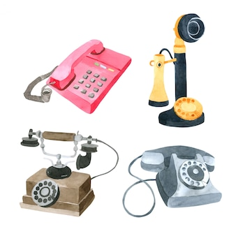 Telephone watercolor collection on white background