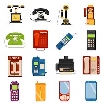 Telephones call contact and business telephones icons set