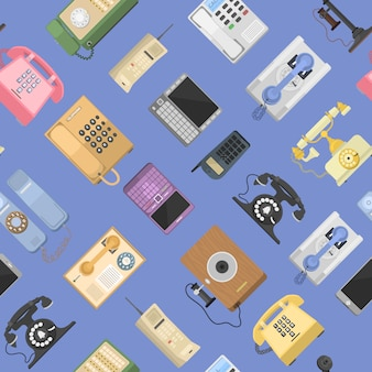 Telephones  icons sealess pattern isolated