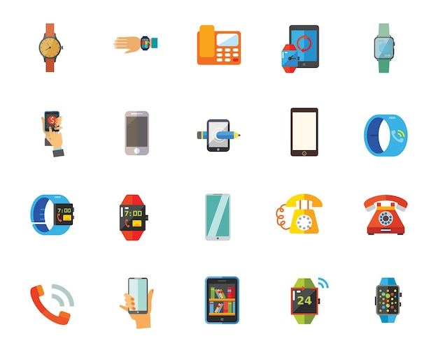 Telephones and watches icon set
