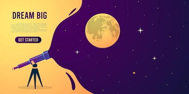 망원경과 별이 빛나는 밤하늘. 삽화