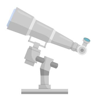Значок телескопа шаржа. наблюдение за звездами астрономии иллюстрация научно-исследовательского оборудования.